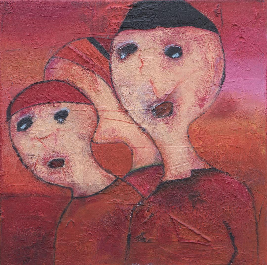 Kunst in huis Galerie Expositie-Schilderijen abstract-figuratief van textuur en verf